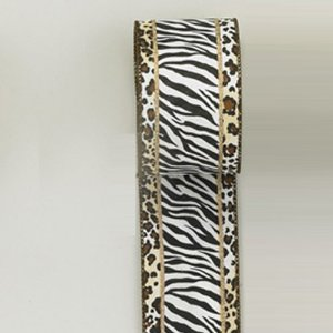 6 Zebra and Leopard Print Double Wire Woven Ribbons