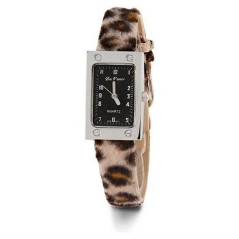 Black Brown Animal Print Strap Wrist Watch