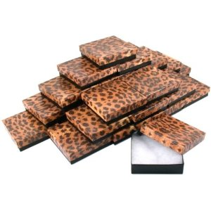 Cotton Filled Paper Jewelry Box Leopard Print 25Pcs