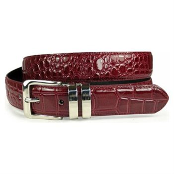 One Size Fits All Croco Print Leather Belt