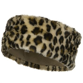 Fun Fur Head Band – White Leopard