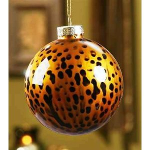 Giftcraft Leopard Animal Print Glass Ornament