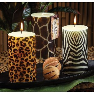 Safari Animal Print Giraffe Print Pillar Candle