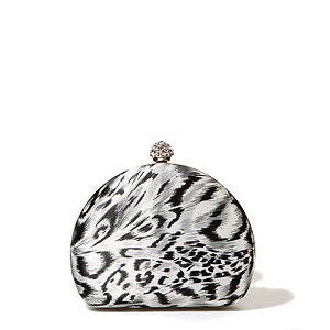 Grey Leopard Clutch With Diamond-Studded