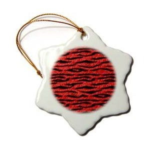 Janna Salak Designs Red Tiger Animal Print Christmas Ornament