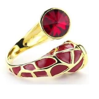 Joanna Laura Constantine Red Adjustable Giraffe Animal Print Ring