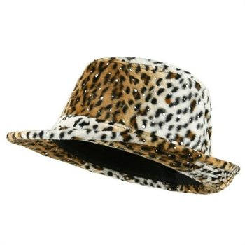 Leopard Furry Animal Print Sequin Fedora Hat