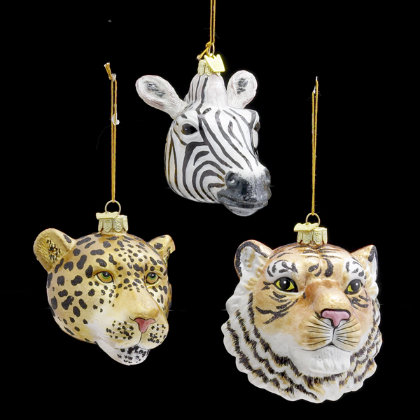 Zebra, Leopard, and Tiger Head Christmas Ornaments