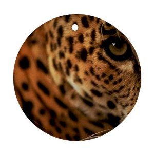 Round Porcelain Leopard Christmas Ornament