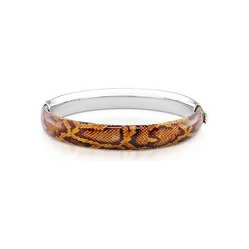 Sterling Silver Brown Snake Print Bangle Bracelet