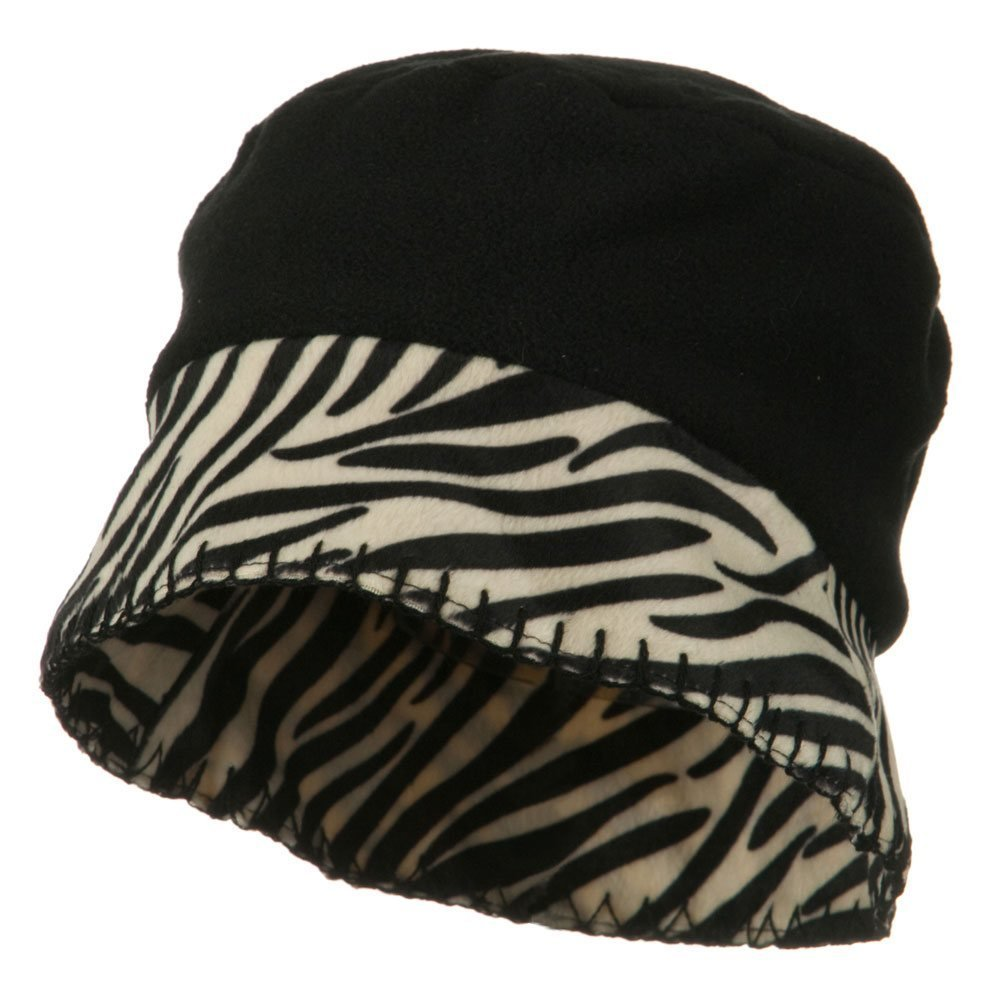 Zebra Cuff Winter Fleece Hat