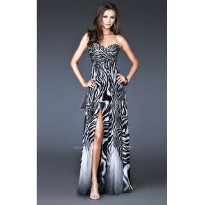 Long Black And White Zebra Prom Dress