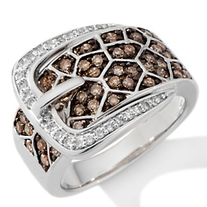 """Champagne and White Diamond Sterling Silver Giraffe Animal Print """"Buckle"""" Ring"""