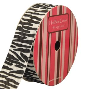 7/8″ White w/ Black Zebra Animal Print Grosgrain Ribbon 10 yard Reel