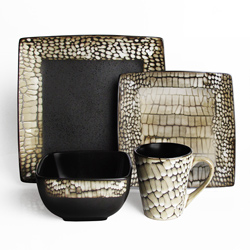 American Atelier Boa Croco Animal Print White 16-piece Dinnerware Set