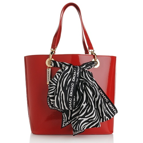 DKNYC Patent Shopper with Zebra Print Silk Twill Scarf