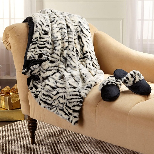 Highgate Manor Zebra Faux Fur Throw and Slipper Gift Set