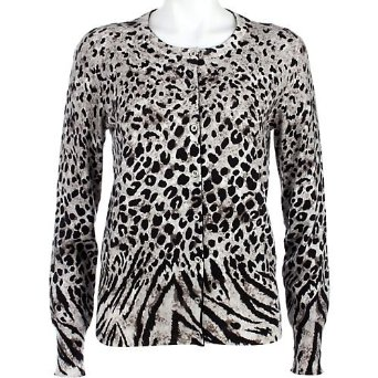 Jones New York Animal Print Cardigan Misses