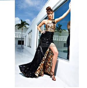 Leopard Black Sequined Mermaid Prom Evening Dress