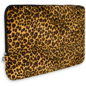 Leopard Animal Print Faux-fur Carrying Case Sleeve for Apple MacBook 13″ Notebook Laptop Computer