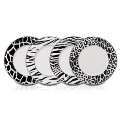 Mikasa Color Studio Black and White Animal Print Accent Plates (Set of 4)