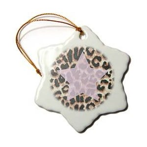Patricia Sanders Creations Pink Star Leopard Print Animal Prints Ornament