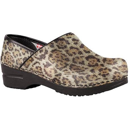 Sanita Clogs Professional Timber Leopard Print