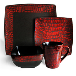 American Atelier Boa Croco Print Red 16-piece Dinnerware Set