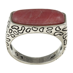 Southwest Moon Sterling Silver Rhodonite Leopard Animal Print Ring