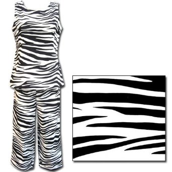 Zebra Women's Cotton Tank Top With Capri Pant Pajama