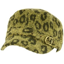 Elastafit Winter Animal Leopard Pri Knit Cadet Military Castro Hat Cap Olive