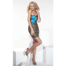 Strapless Leopard Print Homecoming Dress