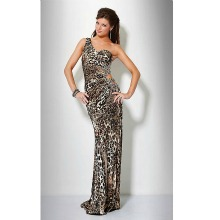 One Shoulder Leopard Print Prom Evening Dress