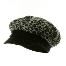 Leopard Print Newsboy Hat – Faux Fur Black