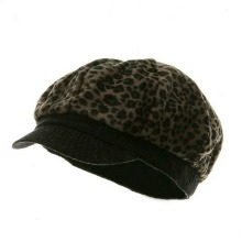 Leopard Print Newsboy Hat – Brown