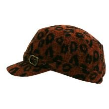 Orange & Black Leopard Animal Print Newsboy Hat