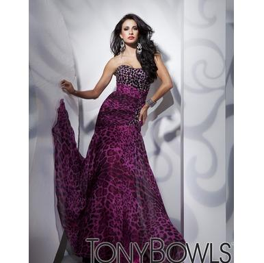 Tony Bowls Leopard  Strapless Evening Dress