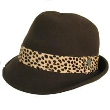 Women's Wool Felt Fedora Hat with Cheetah Animal Print Band