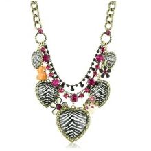 Betsey Johnson Zebra Animal Print Heart Multi-Charm Necklace