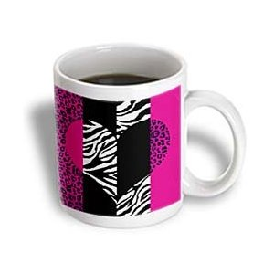 Janna Salak Designs Pink Animal Print Leopard and Zebra Heart Mug