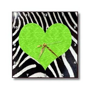 Janna Salak Designs Zebra Animal Stripe Green Heart Print Wall Clock