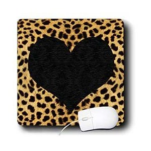 Salak Designs Cheetah Animal Print Black Heart Mouse Pad