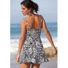 Roamans Zebra Plus Size Strapless Twist Front Swimdress