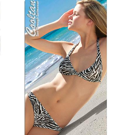 Tan Through Zebra Print Bikini Swimwear