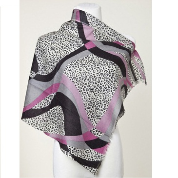 La Fiorentina Cheetah Print Grey Pink Scarf With Fringe