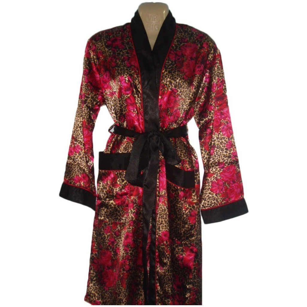 Women's Satin Robe with Front Pockets Leopard Animal Print
