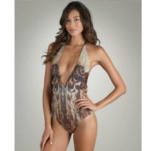 Womens One Piece Animal Print Swimsuit by Lisa Vogel