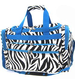 Zebra Blue Trim Duffel Gym Cheer Dance Bag 22″