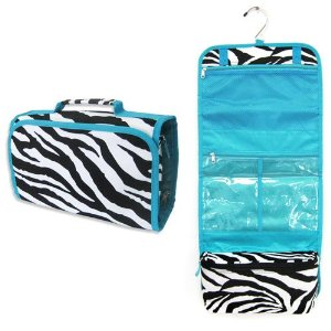 Zebra Hanging Fold up Cosmetic Bag w/ Aqua Blue Trim