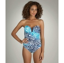 Zebra print Slimming Bandeau one Piece Swimsuit.